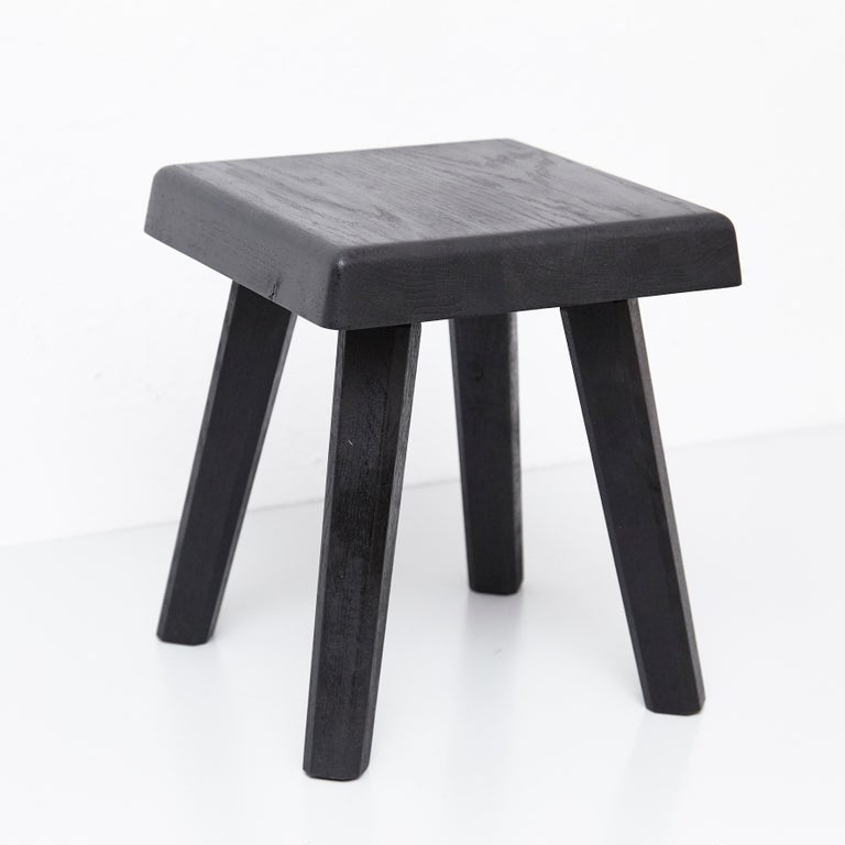 Pair of Pierre Chapo Special Black Wood Edition Stool In Good Condition In Barcelona, Barcelona