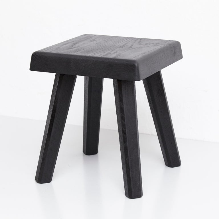Contemporary Pair of Pierre Chapo Special Black Wood Edition Stool