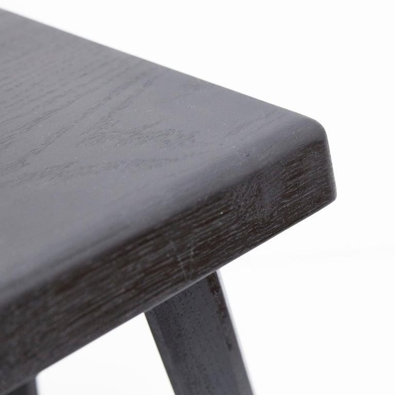 Pair of Pierre Chapo Special Black Wood Edition Stool 1