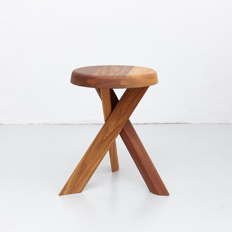 Mid-Century Modern Pierre Chapo Stool S31A Solid Elmwood For Sale