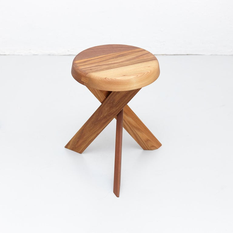 French Pierre Chapo Stool S31A Solid Elmwood For Sale