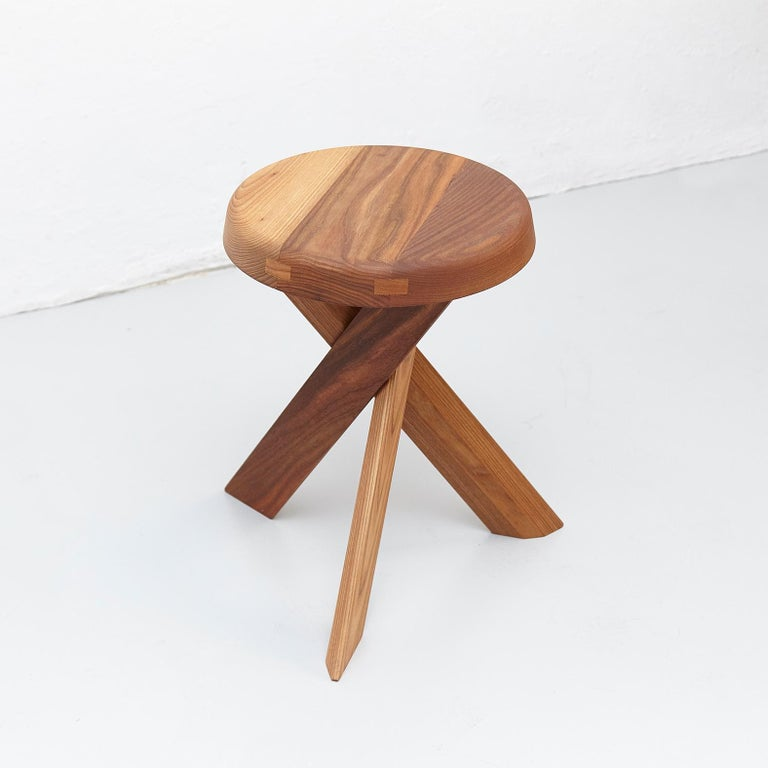 Pierre Chapo Stool S31A Solid Elmwood In Good Condition For Sale In Barcelona, Barcelona