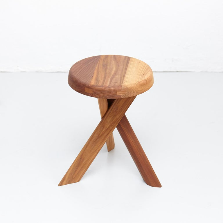 Contemporary Pierre Chapo Stool S31A Solid Elmwood For Sale