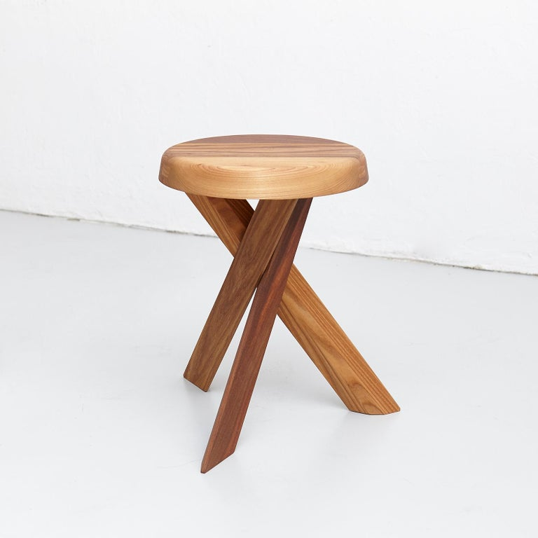 Pierre Chapo Stool S31A Solid Elmwood For Sale 1