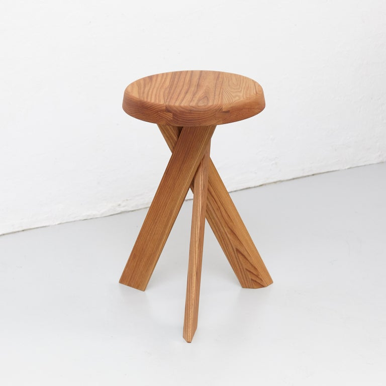 Mid-Century Modern Pierre Chapo Stool S31B Elm Wood For Sale