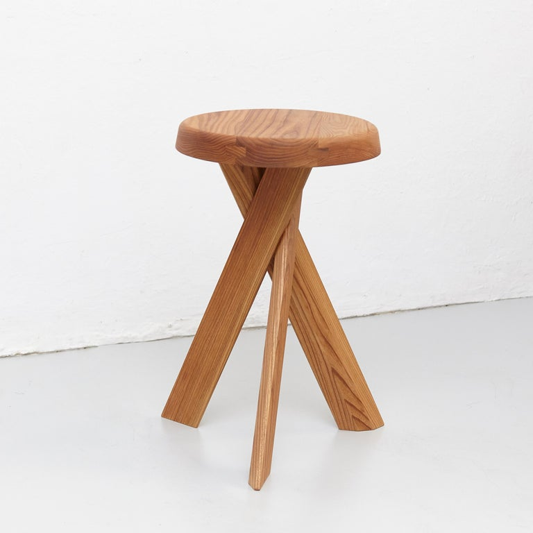 French Pierre Chapo Stool S31B Elm Wood For Sale