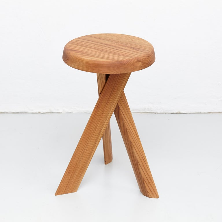 Contemporary Pierre Chapo Stool S31B Elm Wood For Sale