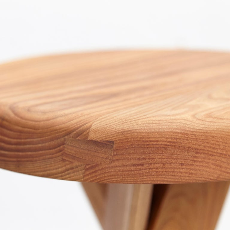 Pierre Chapo Stool S31B Elm Wood For Sale 1
