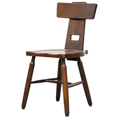 Pierre Chapo Style Brutalist Oak T-Back Dining Chairs