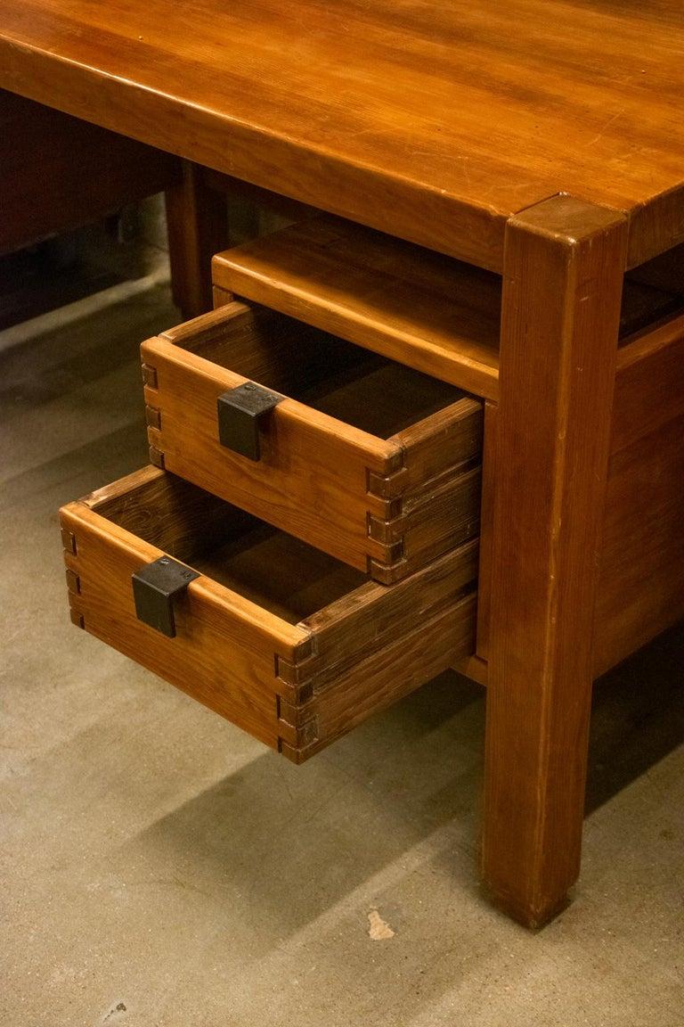 Pierre Chapo Style Desk, France, 1960s For Sale 3