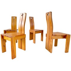 Pierre Chapo Style Dining Chairs, Set of 10
