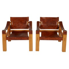 Pierre Chapo Style Leather Sling Armchairs