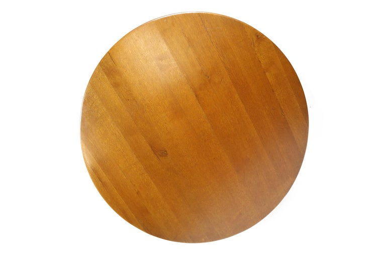 Pierre Chapo dining table in oak with a diameter of 140 cm, this table was bought in 1974 by its previous owners, a copy of the original invoice is available.