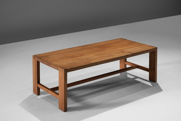 Pierre Chapo, T06A coffee table, solid elm, France, 1960.  A rectangular-shaped coffee table by Pierre Chapo from the 1960s. The cocktail table is modest and rationalist in its design with aH-shaped rod that connects the legs.All attention goes