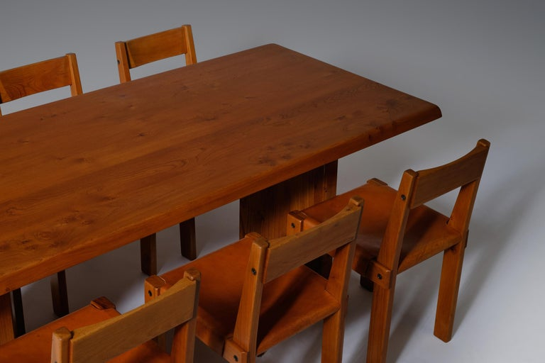Pierre Chapo 'T14C' Dining Table in Solid Elm 4