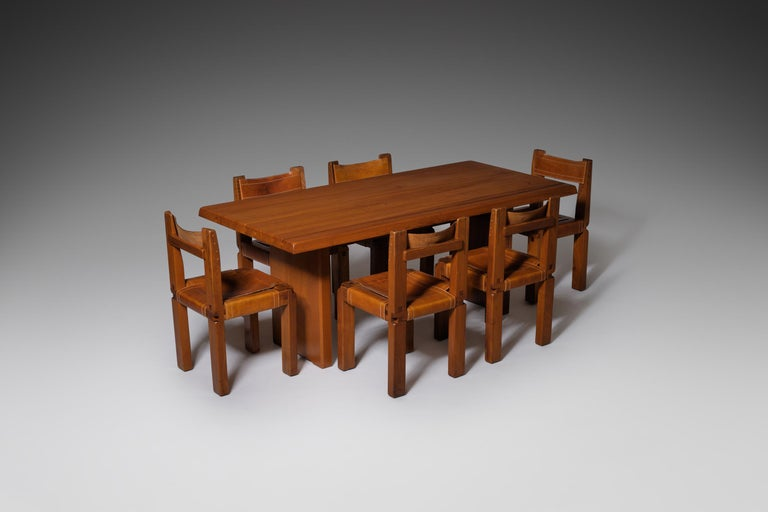Pierre Chapo 'T14C' Dining Table in Solid Elm 5