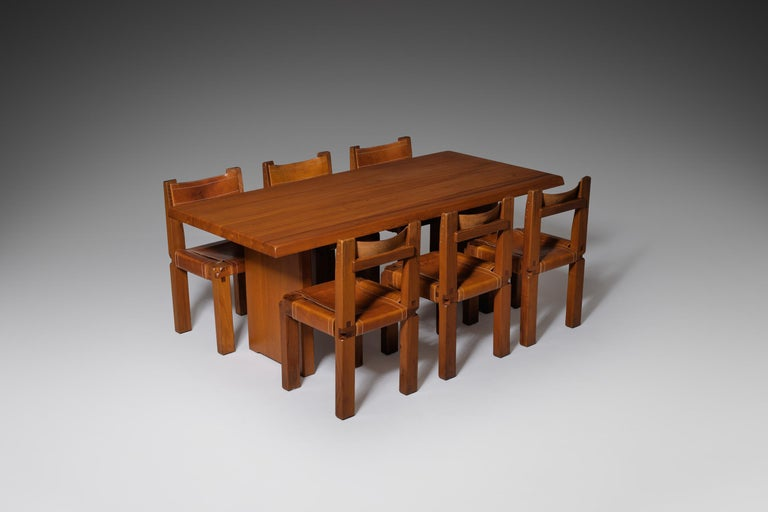 Pierre Chapo 'T14C' Dining Table in Solid Elm 6
