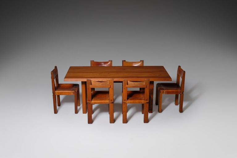 Pierre Chapo 'T14C' Dining Table in Solid Elm 7