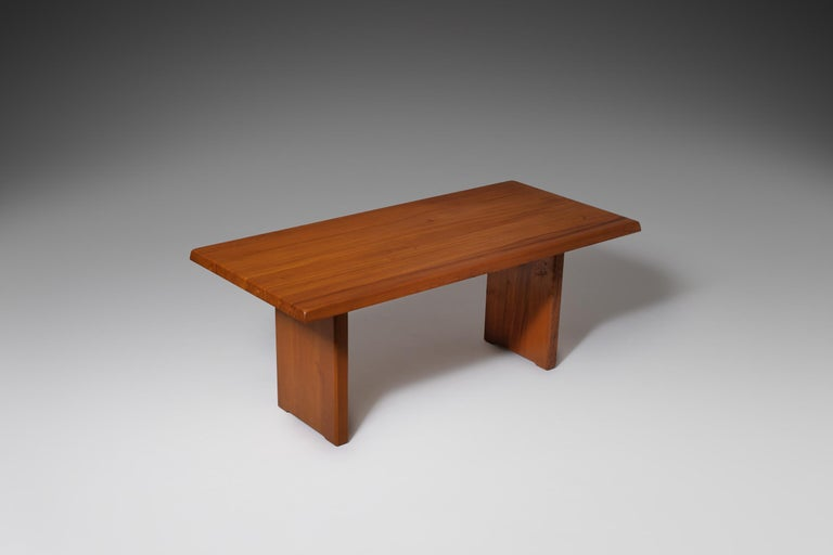 Mid-Century Modern Pierre Chapo 'T14C' Dining Table in Solid Elm