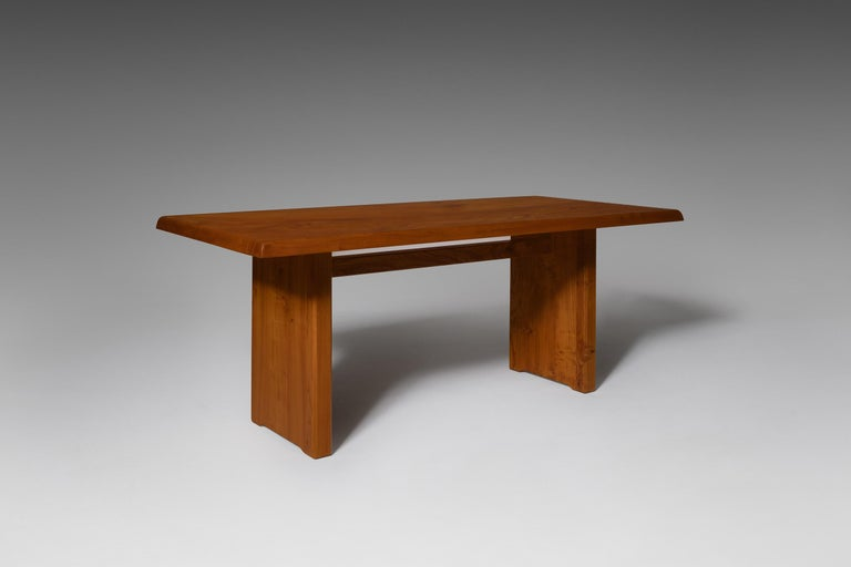 French Pierre Chapo 'T14C' Dining Table in Solid Elm