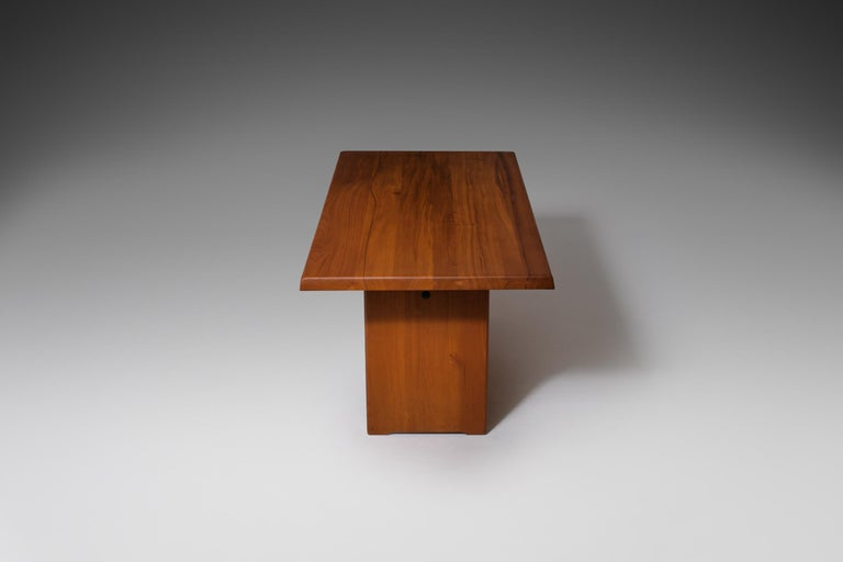 20th Century Pierre Chapo 'T14C' Dining Table in Solid Elm