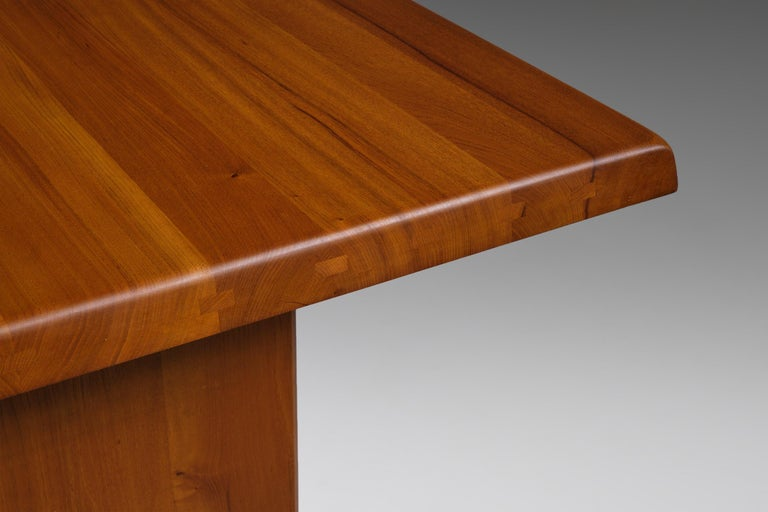 Pierre Chapo 'T14C' Dining Table in Solid Elm 2
