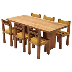 Pierre Chapo T14C Table and S11 Chairs Dining Set in Elm and Leather