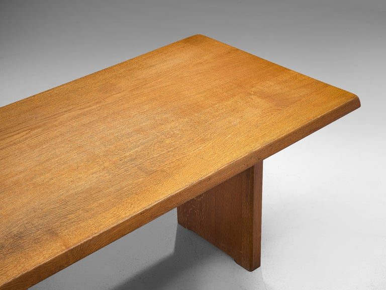 Mid-Century Modern Pierre Chapo 'T14D' Dining Table in Solid Oak For Sale