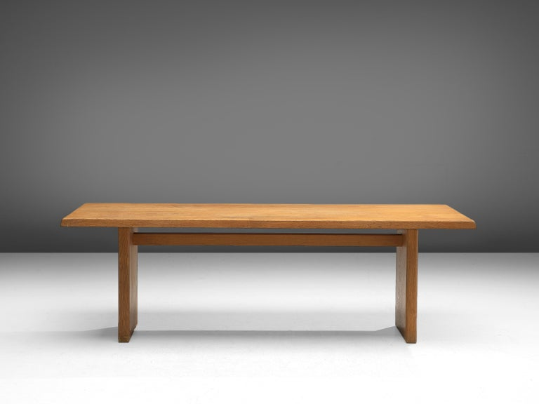 French Pierre Chapo 'T14D' Dining Table in Solid Oak For Sale