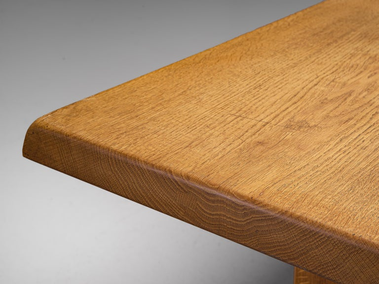 Pierre Chapo 'T14D' Dining Table in Solid Oak In Good Condition For Sale In Waalwijk, NL