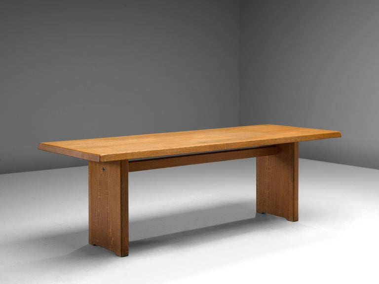 Late 20th Century Pierre Chapo 'T14D' Dining Table in Solid Oak For Sale