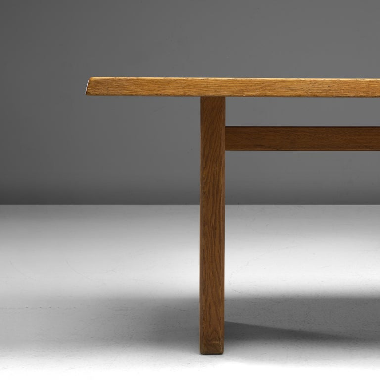 Pierre Chapo 'T14D' Dining Table in Solid Oak For Sale 1