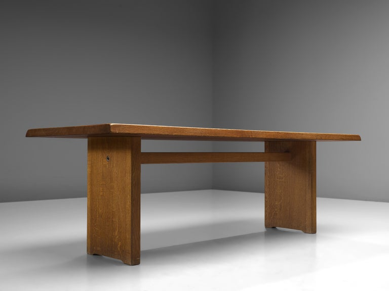 Pierre Chapo 'T14D' Dining Table in Solid Oak For Sale 2