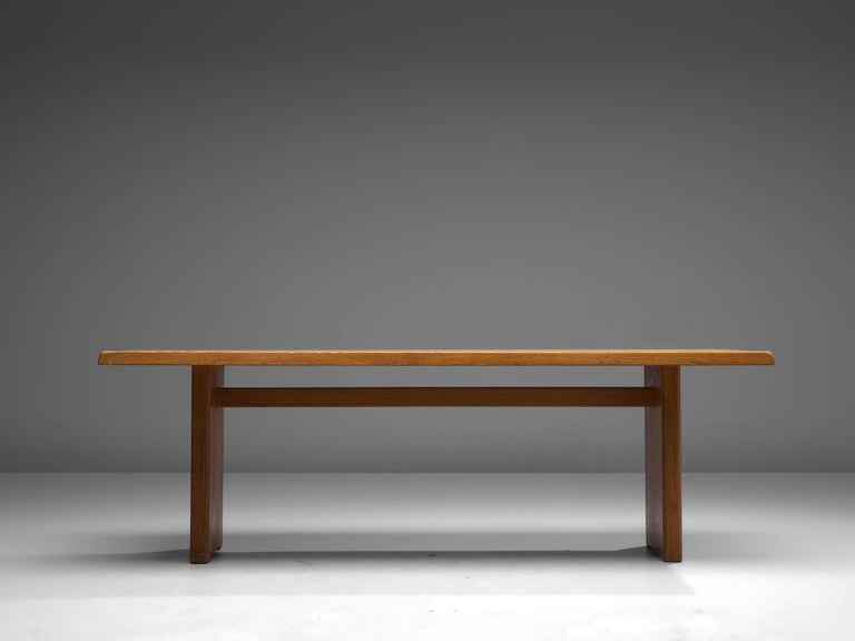 Pierre Chapo 'T14D' Dining Table in Solid Oak For Sale 3