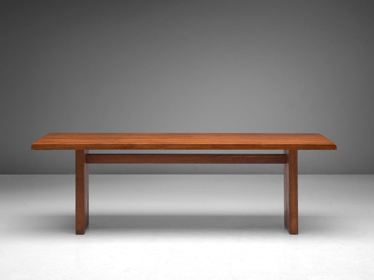 Mid-Century Modern Pierre Chapo 'T14D' Table in Solid Elm For Sale