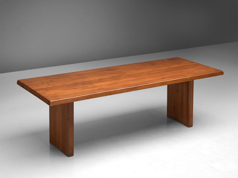 French Pierre Chapo 'T14D' Table in Solid Elm For Sale