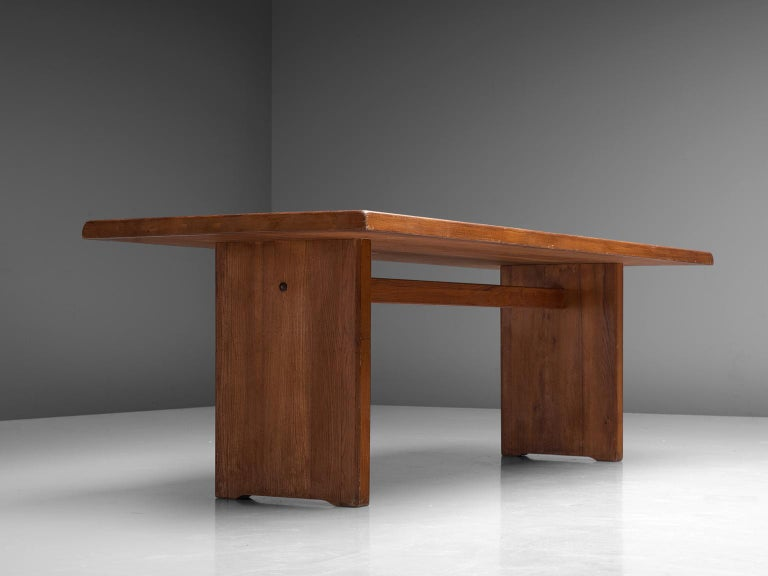 Pierre Chapo 'T14D' Table in Solid Elm In Good Condition For Sale In Waalwijk, NL