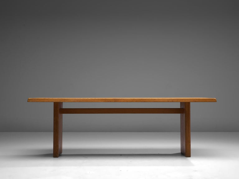 French Pierre Chapo 'T14D' Table in Solid Oak For Sale