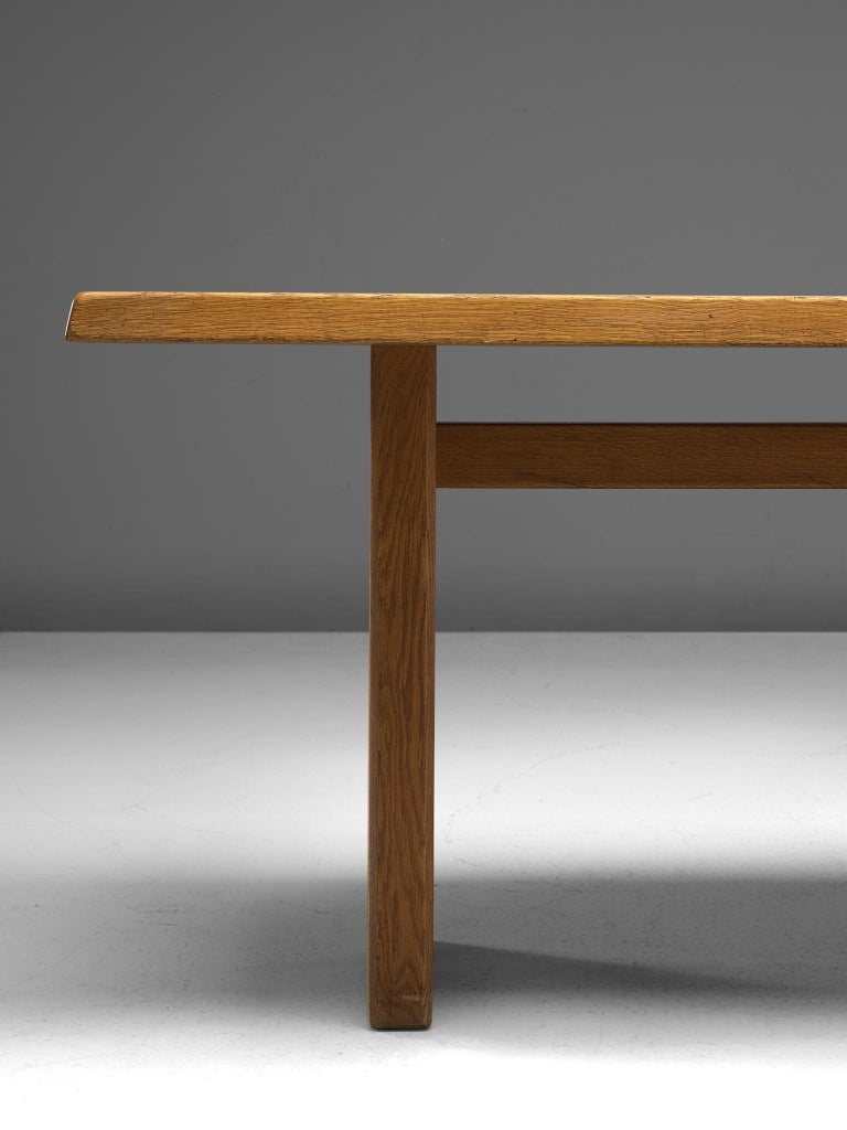 Late 20th Century Pierre Chapo 'T14D' Table in Solid Oak For Sale