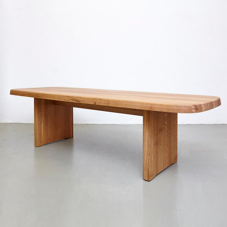 Pierre Chapo Mid Century Modern T20A Wood French Dining Table  In Good Condition For Sale In Barcelona, Barcelona