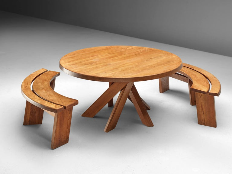 Pierre Chapo, dining table T21 'Sfax', elm, France, 1960s.  This round dining table with five legs is designed by Pierre Chapo. The shape of the base creates a very open look and makes this an object to make a space more interesting. The perfectly