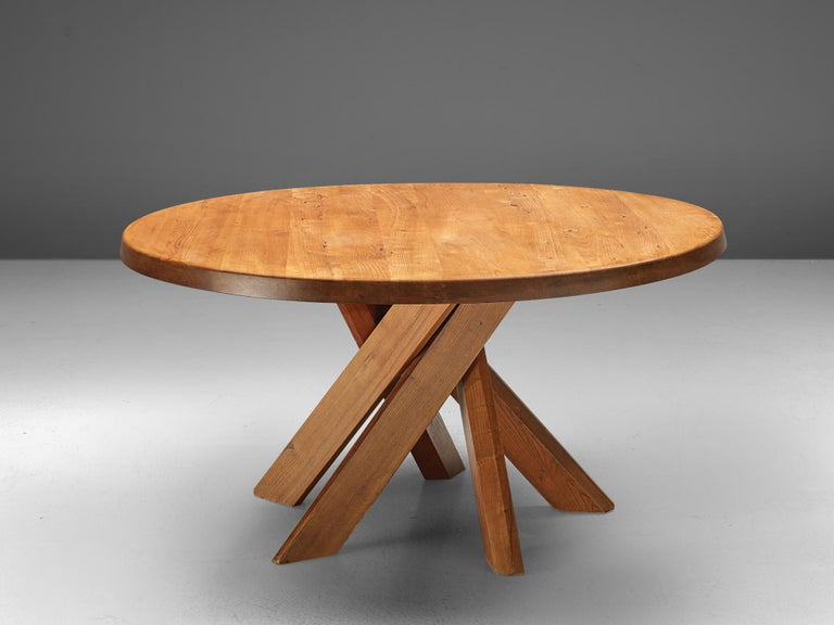 French Pierre Chapo T21 Dining Table in Solid Elm For Sale