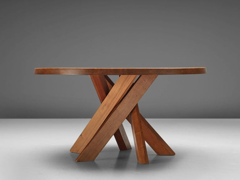 Pierre Chapo T21 Dining Table in Solid Elm In Good Condition For Sale In Waalwijk, NL