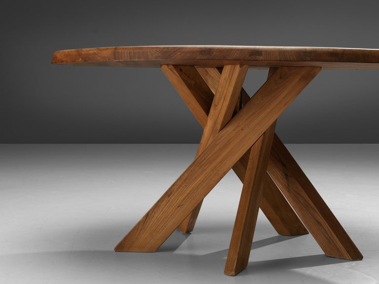 Pierre Chapo T21 Dining Table in Solid Elm For Sale 1