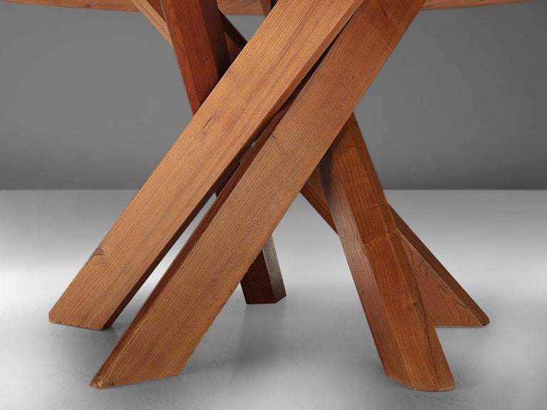 Pierre Chapo T21 Dining Table in Solid Elm For Sale 2