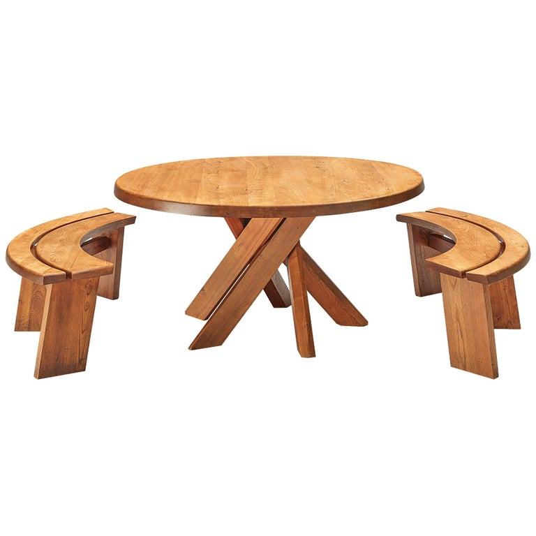 Pierre Chapo T21 Dining Table in Solid Elm For Sale