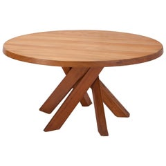 Pierre Chapo T21 Round Dining Table in Solid French Elm, France, 1960s