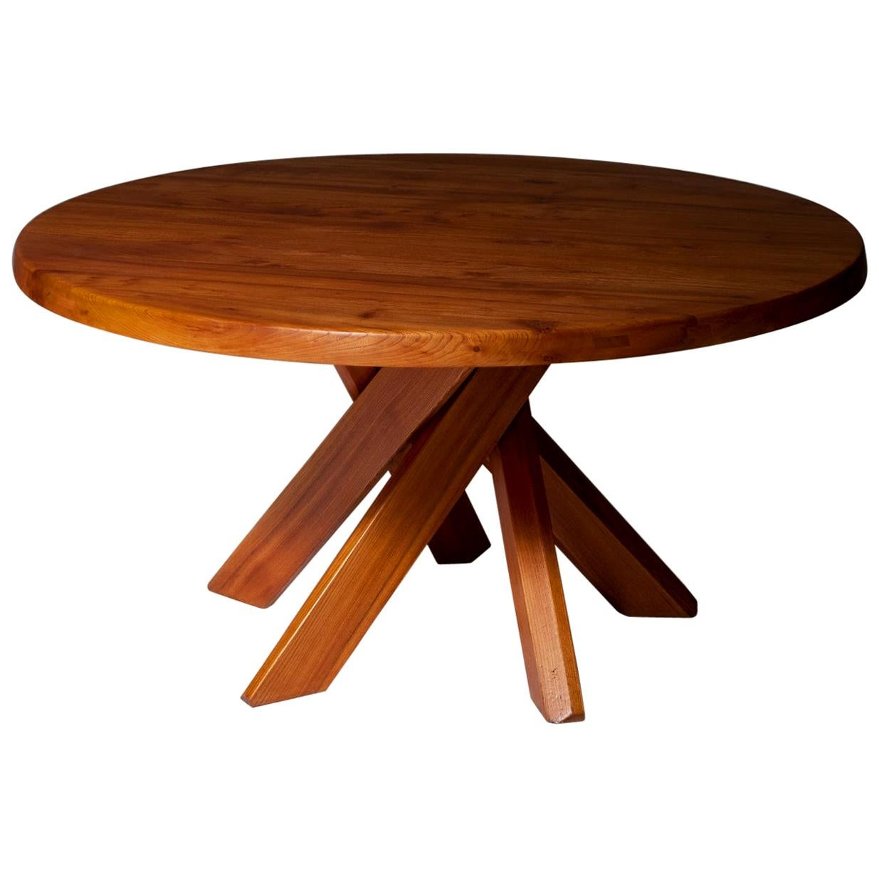 Pierre Chapo T21D Round Dining Table in Solid Elm