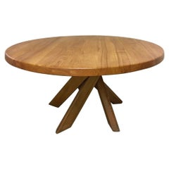 """Pierre Chapo T21d """"Sfax"""" Solid Elm Dining Table, France, 1970"""