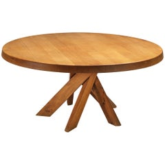 Large Pierre Chapo T21E 'Sfax' Dining Table in Solid Elm , Dm 160cm/63 in.